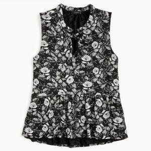 J. Crew || Ruffle-Trim Tie-Front Floral Print Top